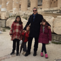 managing director Athanasios Pasvanis with his children in Greece.