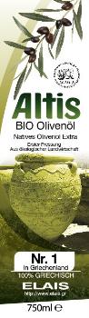 Produktbild Altis Bio Olivenöl Extra Virgin 0,75 Liter